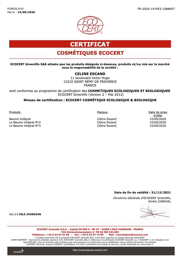 Certificat ECOCERT